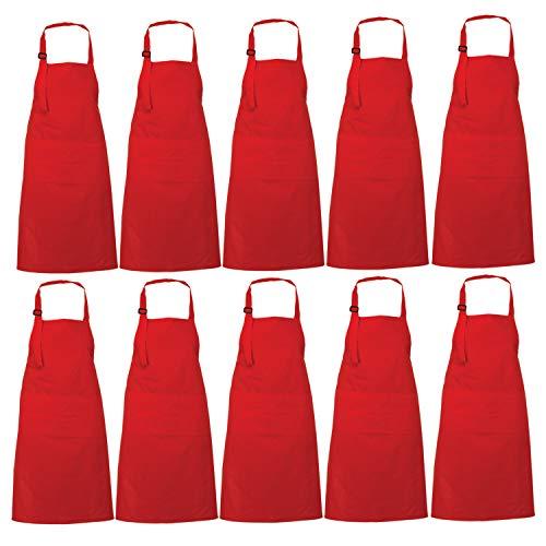 RAJRANG Red Schürzen Großhandel Set 10 - Restaurant BBQ CookApron zum Kochen & Backen mit Reiner Baumwolle 35x27