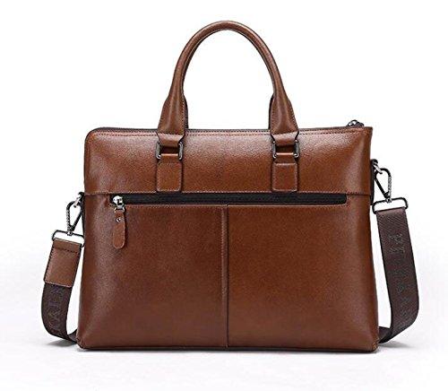 Männer Handtaschen Leder Business Taschen Hochwertige Leder Schultertasche Diagonal Paket Aktenkoffer Computer Tasche Brown