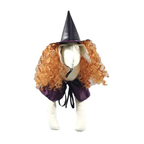 Balacoo Hund Hexe Halloween Hut perücke kostüm Haustier Cosplay Hexe Requisiten Party Supplies - Lockiges Haar Katze Kostüm