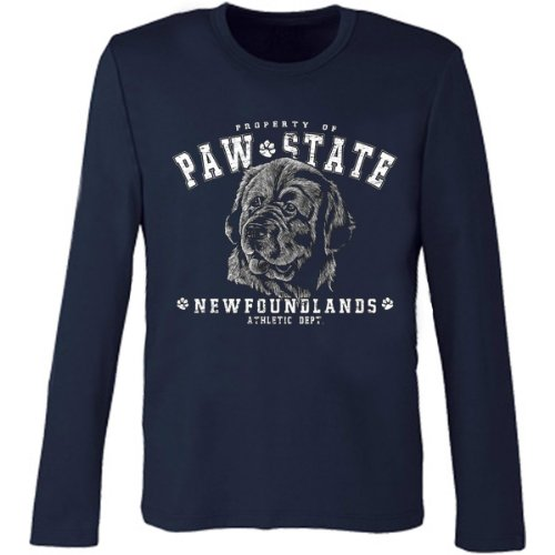 Marken Langarmshirt - Motiv Paw State - Neufundländer - cooles Langarm Shirt Geschenk Herren Weihnachten Geburtstag Navy-Blau