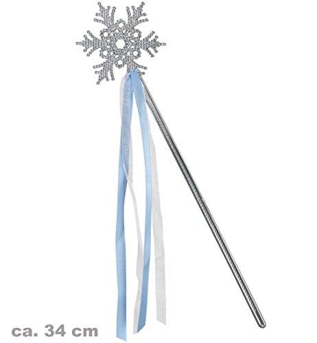 Feenstab Eiskönigin silber mit Eiskristall und blauem Band ca.34 cm (Ice Queen Kostüme)