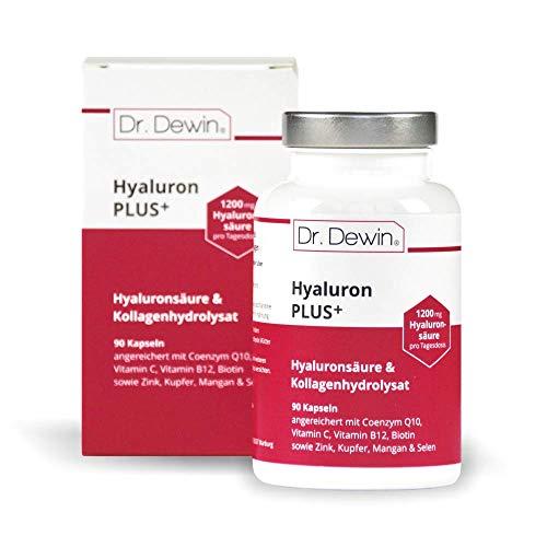 Dr. Dewin® Hyaluron PLUS │ Hyaluronsäure + Kollagen Kapseln │ Hochdosiert 1200 mg Tagesdosis │ Coenzym Q10 + Biotin │ 90 Kapseln = 30 Tage │ 800-1500 kDa │ Für Haut, Anti-Aging & Gelenke