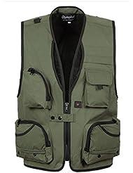 Homme Gilet Veste de Maille en Coton avec Multi-poches Zipper pour Camping,Pêche,Chasse,Photographie