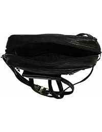 NAZ Unisex Black Leather Messenger Bag
