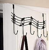 Qiyun Note de musique en métal de style en forme de cintre en fer forgé de robe Crochets Noir