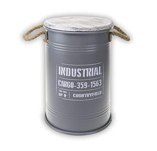 Idealtrend Metall Fass 27x40,5 cm Deko 20 Liter Wäschekorb Hocker Aufbewahrung Tonne Deckel
