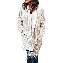 Otoño Largo Cárdigans de Punto Elegante Moda Manga Larga Jerséis Chaqueta Suéter Ropa de Abrigo Rebeca