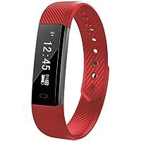 Fitness Tracker Smart Uhr mit Herzschlag Monitor Schritt Tracker Kalorienzähler Armband Wasserdicht Activity Tracker Schrittzähler für IOS Android Schwarz (Deep red)