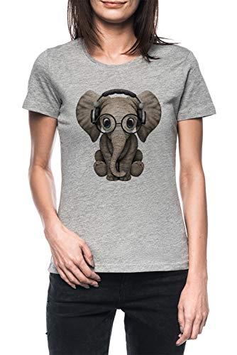 Linda Bebé Elefante DJ Vistiendo Auriculares Y Lentes Mujer Gris Camiseta Manga Corta Women's Grey T-Shirt
