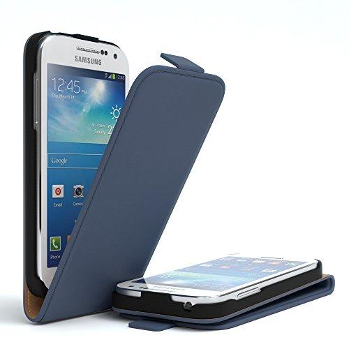 EAZY CASE Flip Case Hülle für Samsung Galaxy S4 Mini Handyhülle - Premium Schutzhülle zum Aufklappen, Klapphülle - Flip Cover in Rot Dunkelblau