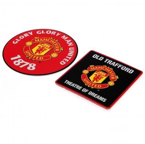 Club Licensed Man Utd Multi Surface Signs (Pack of 2, 9x9cm & 7x7cm)