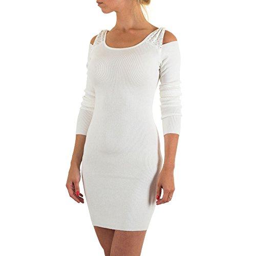 Damen Kleid, SCHULTERFREIES COCKTAIL STRASS STRICK KLEID, KL-MO-3140C-BX Weiß