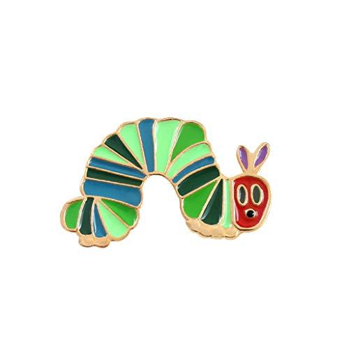 Yiyilam Rucksack Brosche Cartoon Kreative Icons Strawberry Caterpillar Abzeichen Nette Reizende Tasche Kleidung Dekoration Jacke Jeans Mädchen Lässige Party Ornamente Emaille (Niedlich Jean-jacken Frauen Für)
