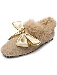 Aisun Damen Low Top Seiden Schleife Plüsch Slip On Loafer Flach Slippers  Hausschuhe bb125712dc
