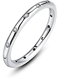 Presentski Anillo de gotitas de plata 925 con circonita cúbica de Austria para mujeres de boda Chica de damas