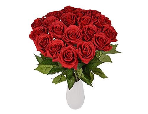 Rosen 10 Stück Real Touch Schöne Echtes Moisturizing Curling Knospe Latex künstliche Rose Kunstblumen Blume Dekoration Blumenstrauß Blumenarrangement (Rot) (Mittelstücke Ideen Für Partys)