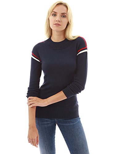 PattyBoutik Damen Trim Mock Hals Langarm Pullover (dunkelblau 40/M) (Trim Pullover)