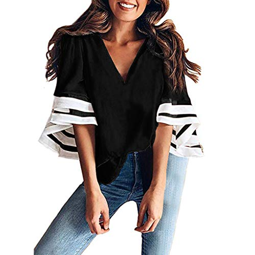 DressLksnf Frauen Schulterfrei Mesh Panel Bluse 3/4 Bell Sleeve Loose Top Shirt Kleid Ladies V-Ausschnitt Normallack Blusen Damen Glocken Hülsen Hemden beiläufige lose Oberseiten Nylon Coat Petite