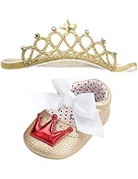 La vogue Scarpe Primi Passi Bambina Fascia Capelli Bimba Corona Imperiale Scarpine