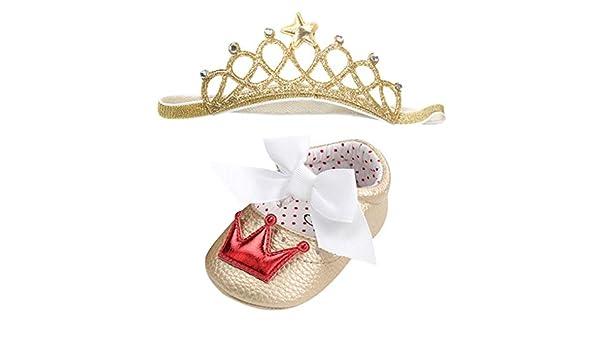 DEMU Stirnb/änder Baby M/ädchen Haarband Krone Kopfband Set mit Schuhe Taufe Geschenk