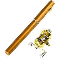 lpyfgtp Mini caña de Pescar telescópica y Carrete portátil de aleación de Aluminio Bolsillo para Peces bolígrafo de Pescado de mar Ultrafino Accesorios de Pesca al Aire Libre, Dorado, Talla única