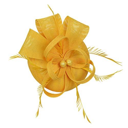 al Feder Fascinator Cocktail Party Hüte Headpieces Stirnbänder - Gelb ()