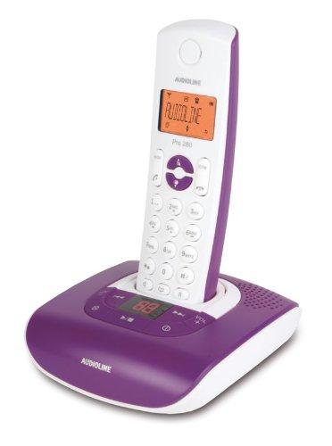 Audioline Pro 280 Color Schnurloses DECT-Telefon mit Freisprechen, orange beleuchtetem Display und Anrufbeantworter aubergine