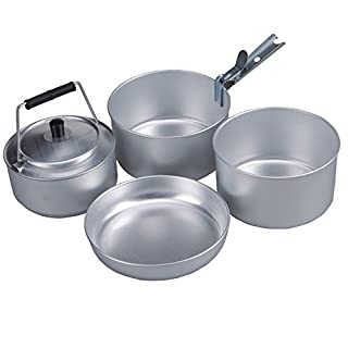 AceCamp Camping Pan Cook Set for 4People, Stackable, Aluminum Cooking Set Cookware, Compact, 1652