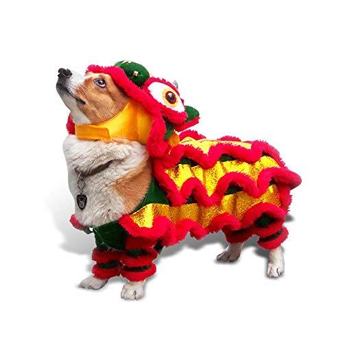 (leegoal Hundekostüm Löwen Tanz Drachentanz Kleidung Chinesisches Neujahr Kostüm Löwenkopf Tanzkleidung für Hunde)