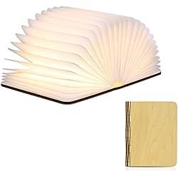 Excelvan LED Buchlampe Faltbar, Tischlampe Buchlicht Wiederaufladbar 2500mAh, LED Nachtlicht Buchlampe aus Holz Warm Weiß 500 Lumen, Papier mit USB-Kabel, Stimmungsbeleuchtung Gebraucht auch für Dekorative Wand, Weihnachtsgeschenk