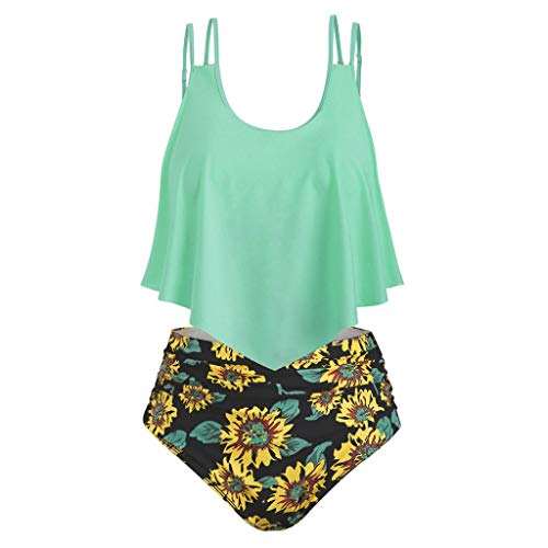 hmtitt Damen Bikini Set, Zwei Stücke hoch taillierte gekräuselte Chrysantheme Print Badeanzüge Top Tankini Sets, Damen Weste Badeanzug Seaside Beach Schwimmen Bademode <br>Größe S-XXXL