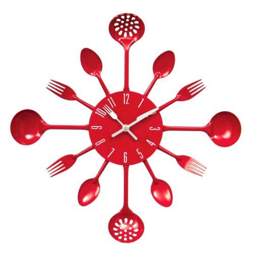 Premier Housewares 2200501 Horloge Murale Couverts en Métal Rouge