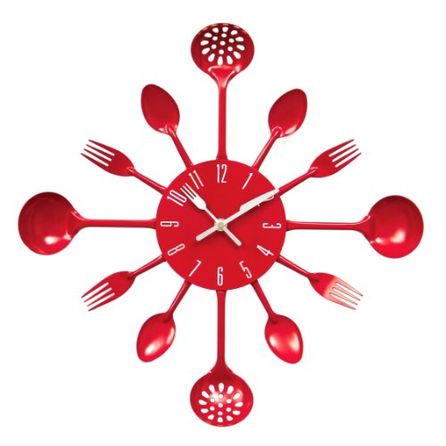 Premier Housewares PREM-2200501 Orologio da Parete, Metallo, Rosso, 33x5x33 cm