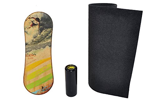 Trickboard Balance Board SET, Surf Trainer - Follow Your Dreams + Roller + Teppich/Bodenschutzmatte - Balance Training, Kitesurfing