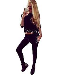 cooshional Femme Ensemble Sweat-Shirt Pantalon Jogging Survêtement 2pcs imprimé Sportwear