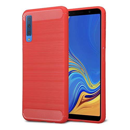 Kit Me Out DE® Galaxy A7 (2018) A750 Schutzhülle TPU-Gel Gebürstete Carbonfaser Hülle Rückseite - stoßfest & robust - für Samsung Galaxy A7 (2018) A750 - Rot