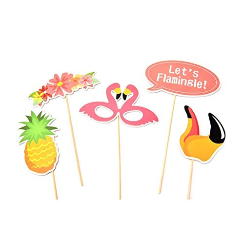 Imagen de anokay photo booth haiwaii  21 pcs kit de photocalls máscaras prop foto atrezzo hawai accesorios colores gafas bigote labios pajarita sombreros para fiesta mascarada navidad bodas aniversarios cumpleaños playa alternativa