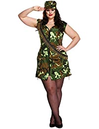 Ladies Sexy Army Girl Military Fancy Dress Plus Size Soldier Cap & Dress Costume