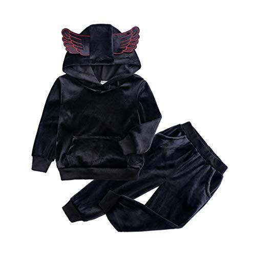 Yying Baby Mädchen Samt Mit Kapuze Kleidung Set Herbst Frühling Kinder Anzug für Mädchen Jungen Sport Anzüge Trainingsanzüge Kleinkind Kinder Kleidung Set