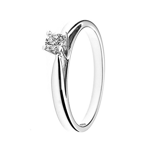 And You - & You - Bague solitaire de mariage Femme - 18-k-(750) Or blanc Diamant Ronde Taille 54 - AMZ-BG SOLO-015/54