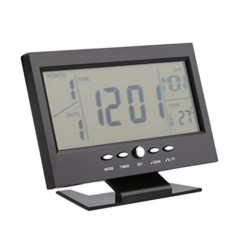 Peanutaod Black & White Voice Control Back-Licht LCD-Alarm Schreibtisch Uhr Wetter-Monitor Kalender mit Thermometer 147 * 56 * 115mm (L * B * H)