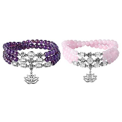 JOVIVI 6mm Amethyst Rosenquarz Perlenarmband Buddha Armband mit Lotus OM Anhänger Wickelarmband Damen Gebetskette Mala Kette