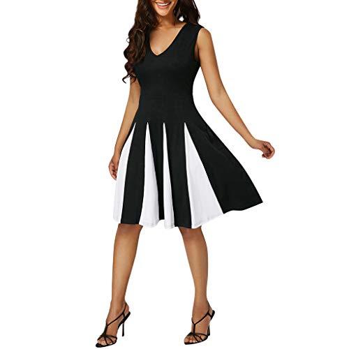 XuxMim Damen A Linie Kurzarm Panel Bubikragen Minikleid Kleid(Schwarz,XXX-Large)