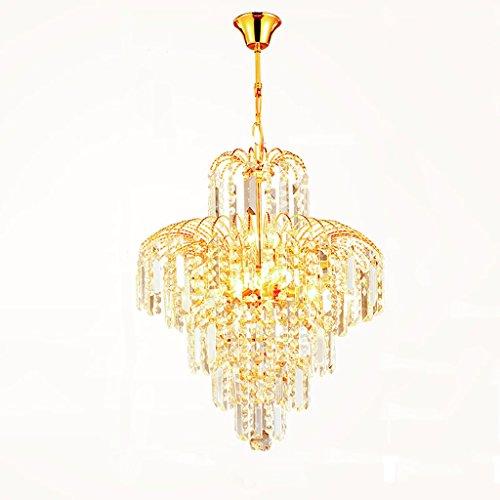 Spray Gold Trim (Yuyuan Light Europäische Luxus 5 Lampe Kronleuchter Krone Form, Kristall Familie Deckenleuchte, Restaurant Schlafzimmer Wohnzimmer Beleuchtung Kronleuchter, Imperial Crystal Trim Kronleuchter, E14 Gold)