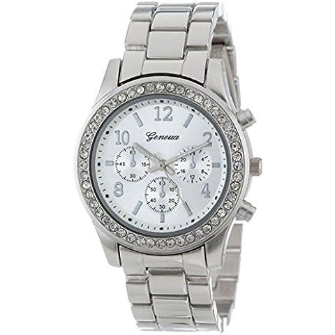 WINWINTOM Cronografo da uomo al quarzo in cristalli rotondi con orologio, colore: argento