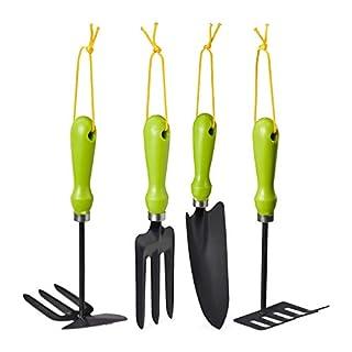 Relaxdays Gartenwerkzeug Set 4-teilig, Blumenkelle, Kleinrechen, Doppelhacke, Blumengabel, Gartengeräte Set, Eisen, grün