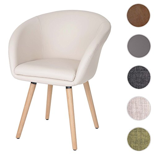 Chaise de salle à manger Malmö T633, fauteuil, design rétro des années 50 ~ similicuir, crème