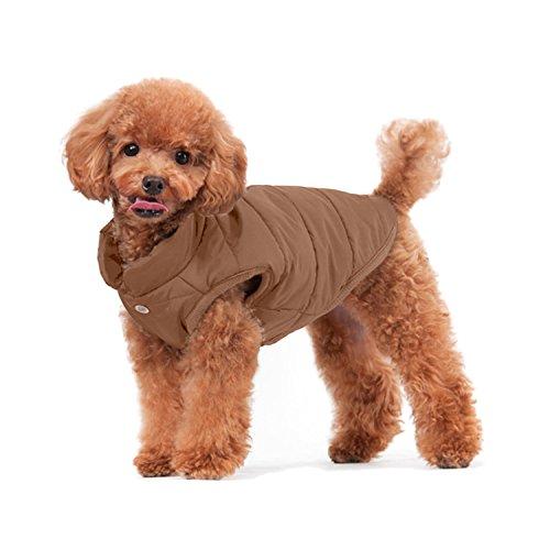 ubest Hundemantel Warm Winterjacke Verdicken Zotte Baumwolle Gepolstert Puffer Weste, Braun, 43 * 66 * 48 cm, Größe XL