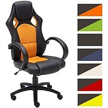 CLP Silla de oficina FIRE. Silla de escritorio con altura regulable 49 - 59 cm. Silla Gaming con diseño deportivo y asiento giratorio 360°. el tapizado de la silla Gaming Fire es de cuero naranja