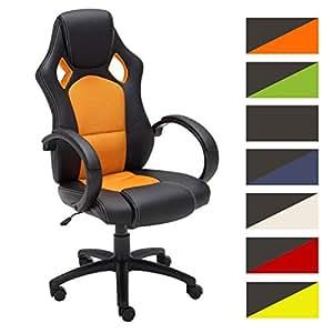 CLP Fauteuil de bureau FIRE, Chaise bureau ajustable en hauteur de LUXE, revêtement en similicuir orange
